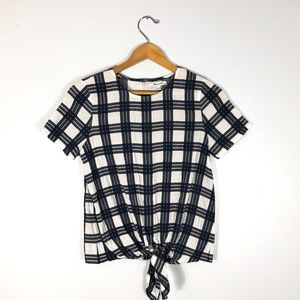 MADEWELL Blue/White Checkered Knot Blouse Size: XS